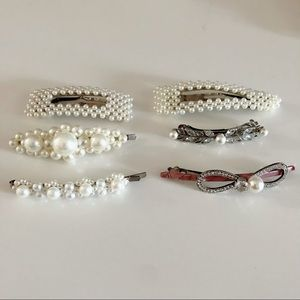 Pearl and Rhinestone Studded Hair Clips (Set of 6)